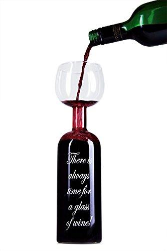 Neuartiges Weinflaschen-glas mit lustiger Gravur von Blu Devil (Englisch)
