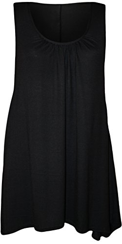 Womens Plus Size Hanky Hem Ladies Long Sleeveless Scoop Neck Vest Top - 16-22