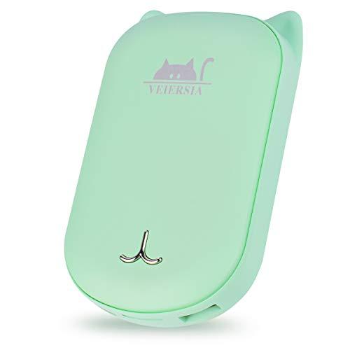 VEIERSIA Wiederaufladbarer Tragbarer Handwärmer mit USB Power Bank 6000mAh, Doppelte Seitenerwärmung, Valentinstag (Grün)