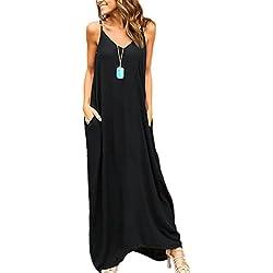 Yacun Mujeres Hippie Boho Vestidos Correa Profundo Cuello En V Loose Long Dress Negro M