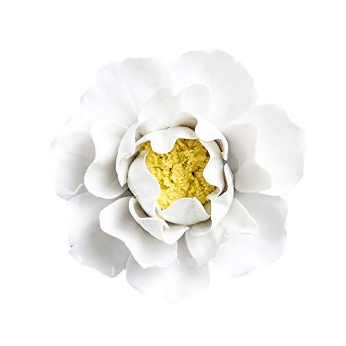 ALYCASO 3D Keramik Blume Pfingstrose für Zuhause, Küche, Wohnzimmer, Schlafzimmer, Wandskulpturen, Dekoration, Kunst-Hängeblume 4.72 in weiß -
