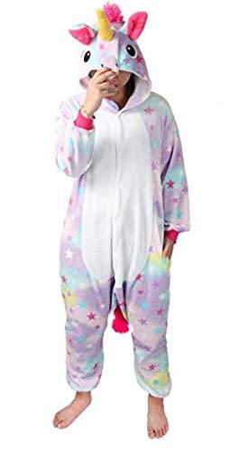 ticolor diseño Y Unicornio pijama con las estrellas diseño,Unisex Traje de Disfraz Cosplay para Carnaval Halloween Navidad Ropa para Adultos Niños (Star, M(170cm-180cm)) ()