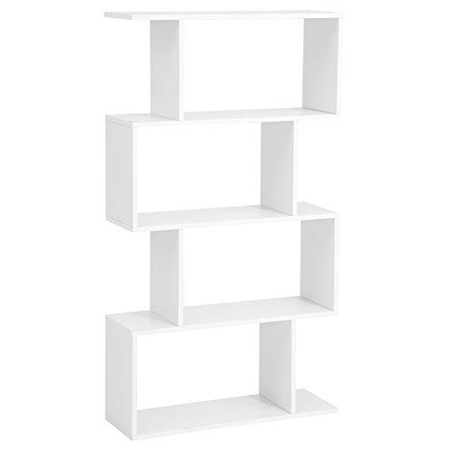 Songmics libreria in legno, scaffale a ripiani e divisore d'interni, mobile guardaroba contemporaneo decorativo autoportante a 4 livelli, bianco, lbc41wt