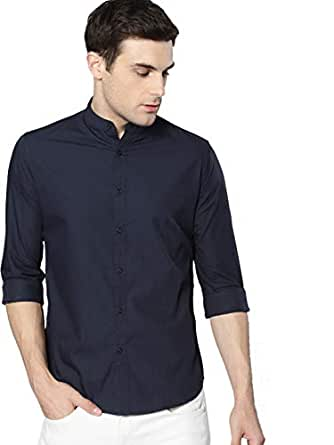 Dennis Lingo Men's Plain Slim Fit Casual Shirt (C201_Blue_Small)