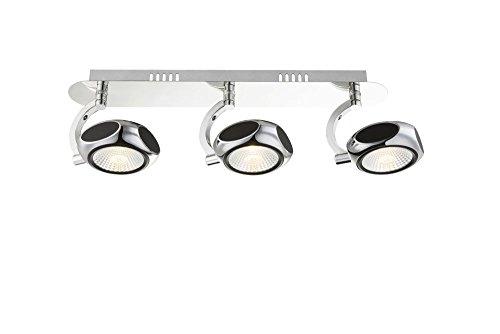 LED Deckenstrahler 6 flammig Decken Spot Deckenlampe bewegliche Spots Strahler Flur Lampe Chrom Deckenleuchte, Deckenlicht, Schlafzimmer, Wohnzimmer Leuchte, 150 cm, 6 x 5 Watt, warmwei/ß, EEK A+