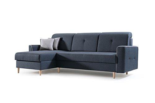 Ecksofa Sofa Eckcouch Couch mit Schlaffunktion und Bettkasten Ottomane L-Form Schlafsofa Bettsofa Polstergarnitur MIKA (Anthrazit, Ecksofa Links)