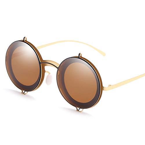 ZHAS High-End-Brille Runde Sonnenbrille Frauen Männer Metall Sonnenbrille Retro Flip Up Brille Double Layer Clamshell Design Personalisierte High-End-Sonnenbrille Braun (Frauen Markenname-sonnenbrillen Für)
