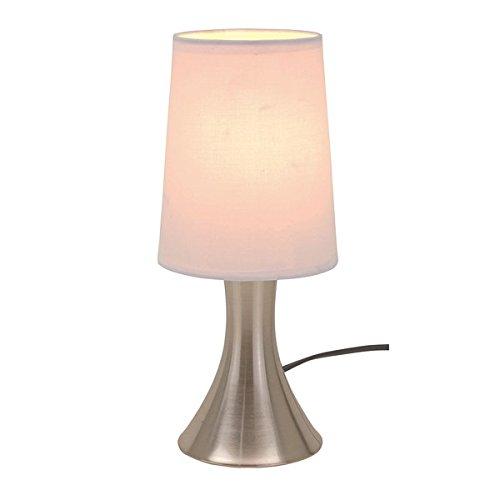 Tischlampe mit Dimmer mit Touch me Funktion 3 Stufen mit Edelstahlfuss mit weissem Lampenschirm -