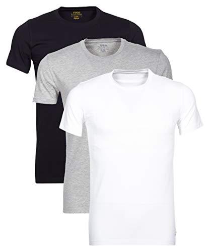POLO RALPH LAUREN 3 Pack Uomo T Shirt Girocollo Mezza Manica Cotone Nero/Bianco/Grigio )