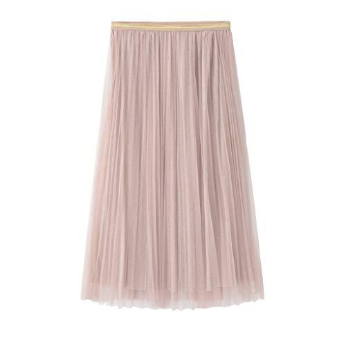 Hem Midi Skirt (HHyyq Women's Long Tulle Skirt Tutu Swing Skirts Pleated Maxi Chiffon Petticoat High Elastic Waist Midi Skirt Flowing Large Hem(Rosa,Free Size))