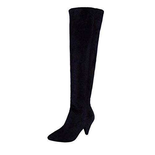 OYSOHE Damen Stiefel,Overknee Solide Sexy High Heel Stiefel Frauen Flock Party Schuhe by