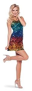 Folat 22004 Rainbow - Vestido de lentejuelas multicolor con arcoíris, talla S/M, multicolor