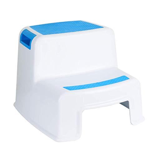 Funhoo Rutschfester Tritthocker Trittschemel für Kinder, 2-Stufen Schemel zum Toilettentraining, Händewaschen in Badezimmer, Kinderzimmer, Küche - Weiss/Blau