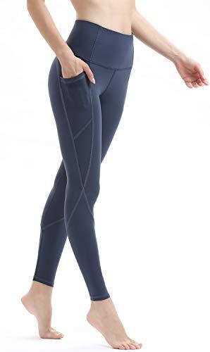 Persit Damen Yoga Leggings, Sport Tights Leggins Yogahose Sporthose für Damen Stahlblau-L