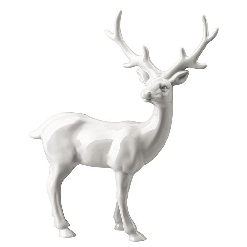Hutschenreuther 02468-800001-24624 Märchenwald Porzellan-Figur Hirsch groß, Höhe 25 cm, weiß