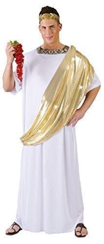Fancy Me Herren Römisch Cäsar Toga Kaiser Lineal Historisch Antike Kostüm Kleid Outfit groß - Weiß, Large