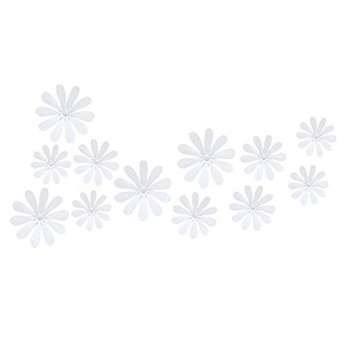 Dekoration Wand Aufkleber Spiegel 3D Blume Verschiedene Größen, Weiß ()