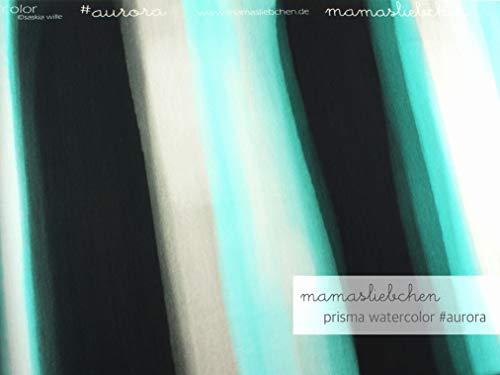 Mamasliebchen Sommer- Sweat-Stoff Prisma Watercolor #Aurora (ca. 1,0m) Farbverlauf Wasserfarben aquarell Panel - Baumwolle Knitterfrei Kleid Shirt
