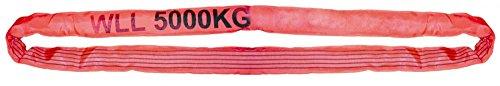 Rundschlinge Schlupf 5000 Kg rot 90414 Umlauflänge 6 m Nutzlänge 3,0 m hohe Gewebekantenstabilität 100% hochfestes reißbeständiges Polyester Sicherheitsfaktor (SF) 7/1 abriebfeste Oberfläche