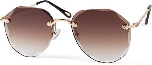 styleBREAKER Damen Piloten Sonnenbrille Rahmenlos mit getönten Gläsern im Diamant Schliff, Geprägte Bügel, Vieleckige Gläser 09020106, Farbe:Gestell Gold/Glas Braun Verlauf