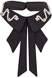 CHARMGIRL Women Girls Fake Collar Detachable Lapel Rhinestone Crystal Pearl Blouse False Collar Choker Neck Bo