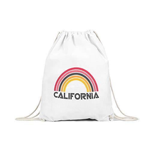 licaso Turnbeutel Bedruckt California Rainbow Print in Weiß Gym Bag Kordel Kalifornien Regenbogen Druck Ökologisch & Nachhaltig 100% Baumwolle -