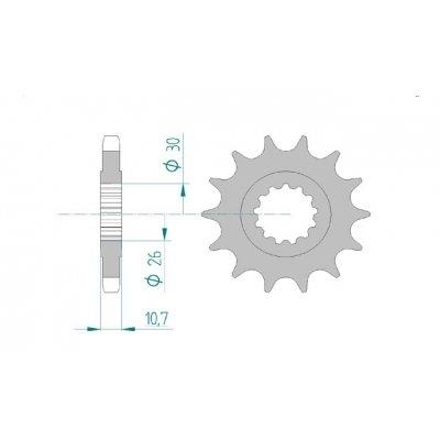 AFAM Ritzel Teilung 530 Zähne 16 für Yamaha FZ1 1000 N, Bj. 2011 | Maße Welle: 26/30mm | Höhe/Versatz: 10,7mm