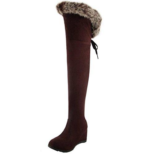 TAOFFEN Damen Winter Wildleder Keilabsatz Lange Stiefel Warme Chelsea Stiefel Mit Wolle Braunrot