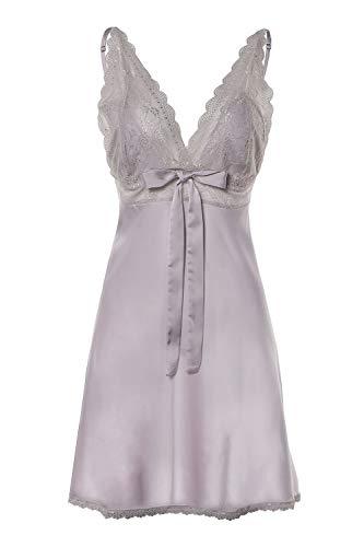BellisMira Damen Negligee Lace Nachthemd Satin Nachtkleid Sexy Sleepwear Spitze Kurz Trägerkleid  V Ausschnitt Elegant Dessous,XL,Grau