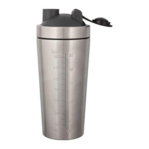 Eiweißshaker, Shaker für Proteindrinks, Cocktail Shaker aus Edelstahl mit Gravur, Shaker mit personalisiertem Namen, Messskala inklusive