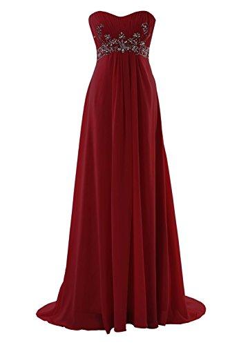 YiYaDawn Langes Elegantes Ballkleid Abendkleid mit Steinen für Damen Weinrot