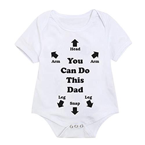 Knowin Sommer Overall Baby Body Papa Du Schaffst Das Kurzarm Babybody Bio-Baumwolle You Can Do This Dad Baby Shirt Muttertag Jungen Vatertag Shirts Mädchen Weiß