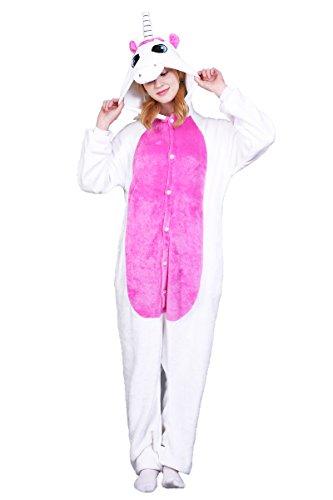 Unicornio Pijamas Unisex Adulto Cosplay Disfraz de Halloween Animal Pijamas Mono de Invierno Unisex Animales (XL, Blanco)