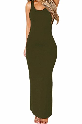 Damen ärmellose ausgehöhlten zurück Maxi Bleistiftkleid Green