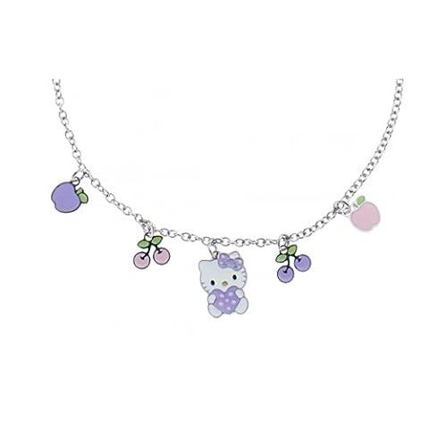 Hello Kitty Mädchen-Halskette mit Anhänger Sweety K41025 Stahl Apfel Kirsche