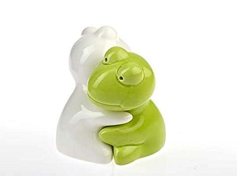 Hundefreund, Tierfreund, Tierliebhaber, Salzstreuer im Frosch Design in hellgrün/weiß ,