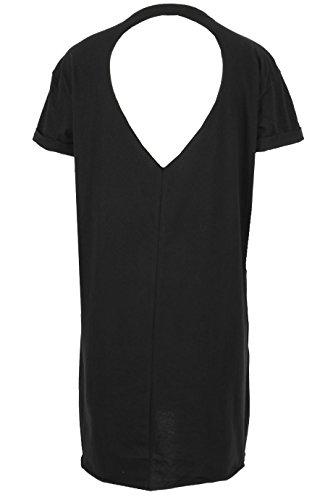 Damen Rock bedruckt Laser Cut zurück T-Shirt Kleid EUR Größe 36-42 Schwarz
