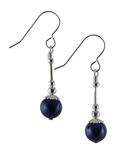 Dark night blue swarovski perla di vetro orecchini pendenti in argento sterling con scatola regalo