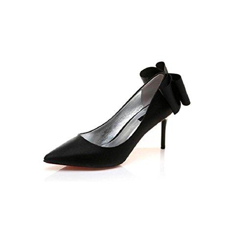 YYH Mariée élégante Stilettos femme fait Bowknot chaussures nue Black