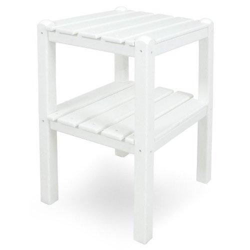CASA BRUNO Beistelltisch mit zwei Böden, 48x36x58 cm, aus recyceltem Poly-HDPE Kunststoff, weiss - kompromisslos wetterfest