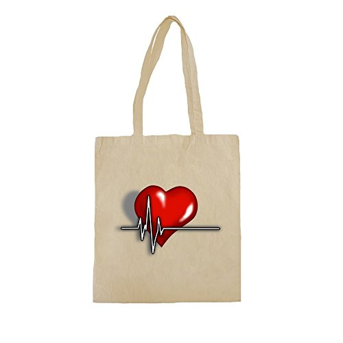 Borse Shopper Cotone con cuore battere stampare. 38cm x 42cm, 10 litri, Natural