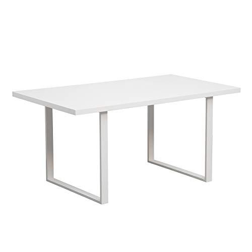 Riess Ambiente Design Esstisch Lucente 160cm edelmatt weiß mit Kufengestell Küchentisch Tisch