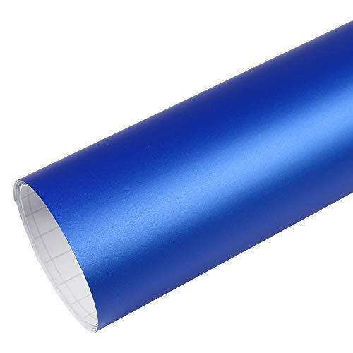 Rapid Teck® 5,26€/m² Premium - Matt Blau Metallic 2m x 1,52m Auto Folie Blasenfrei mit Luftkanälen für Auto Folierung und 3D bekleben in Matt Glanz und Carbon Autofolie