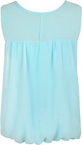 WearAll - Damen Plus Crochet Schmetterling Print Gefüttert ärmellose Spitze Weste Spitze - 4 Farben - Größe 44-54 Türkis