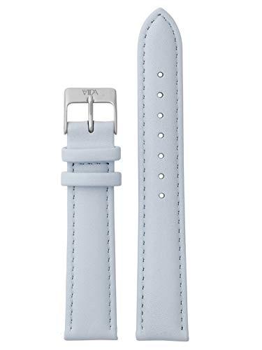laVIIDA Uhrband LB-SVI2014S Ersatzband Uhrenarmband Leder 18 mm Hellblau-Silber