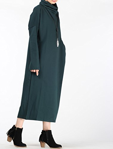 MatchLife Femme Col Roulé Grosse Poche Pull Robes Style1-Vert