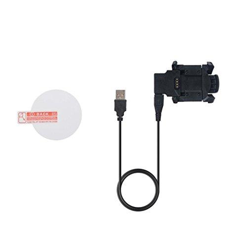 FLAMEER Ersatz USB Daten Sync Ladekabel Cradle Dock Adapter mit Rund Schuzfolie für Garmin Fenix3 HR Usb Sync Cradle