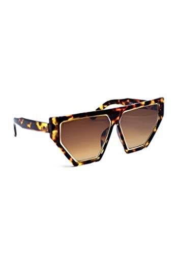 Damen-Sonnenbrille I Modell Ibiza I Oversize-Brille I UV-Schutz I Übergroße Sonnenbrille (Leomuster)