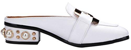 Calaier Femme Cahave 3CM Bloc Glisser Sur Mules et sabots Chaussures Blanc