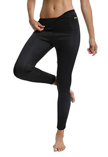 Fittoo pantaloni sauna dimagranti donna leggins sportivi fitness sauna pants hot shapers, nero, m